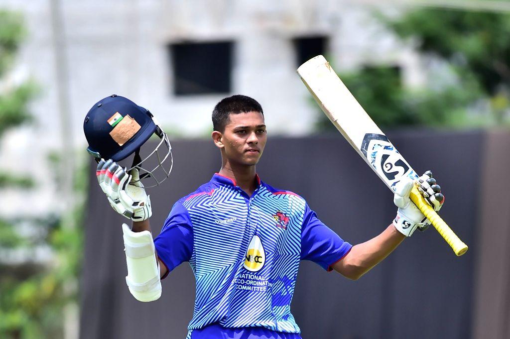Bengaluru: Yashasvi Jaiswal of Mumbai celebrates his 200 runs during Elite Group A Vijay Hazare Trophy match between Mumbai and Jharkhand at Aluru Grounds, in Bengaluru on Oct 17, 2019. (Photo: IANS)