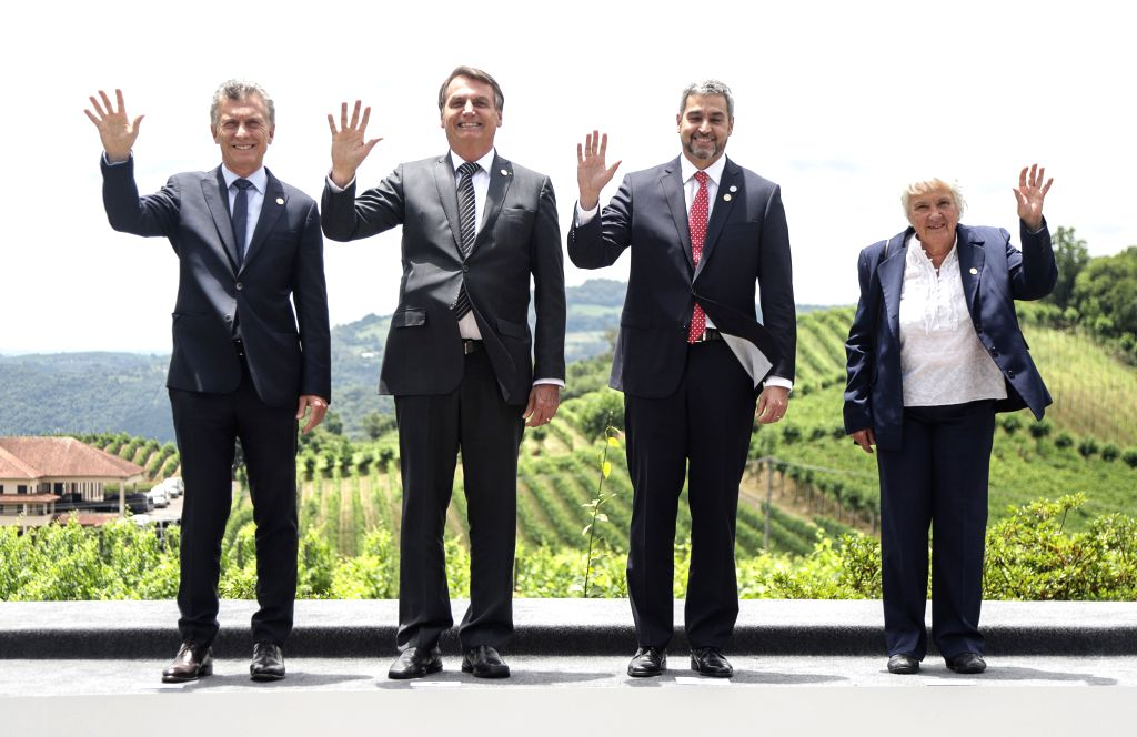 BENTO GONCALVES, Dec. 6, 2019 - Argentine President Mauricio Macri, Brazilian President Jair Messias Bolsonaro, Paraguayan President Mario Abdo Benitez and Uruguayan Vice President Lucia Topolansky ...