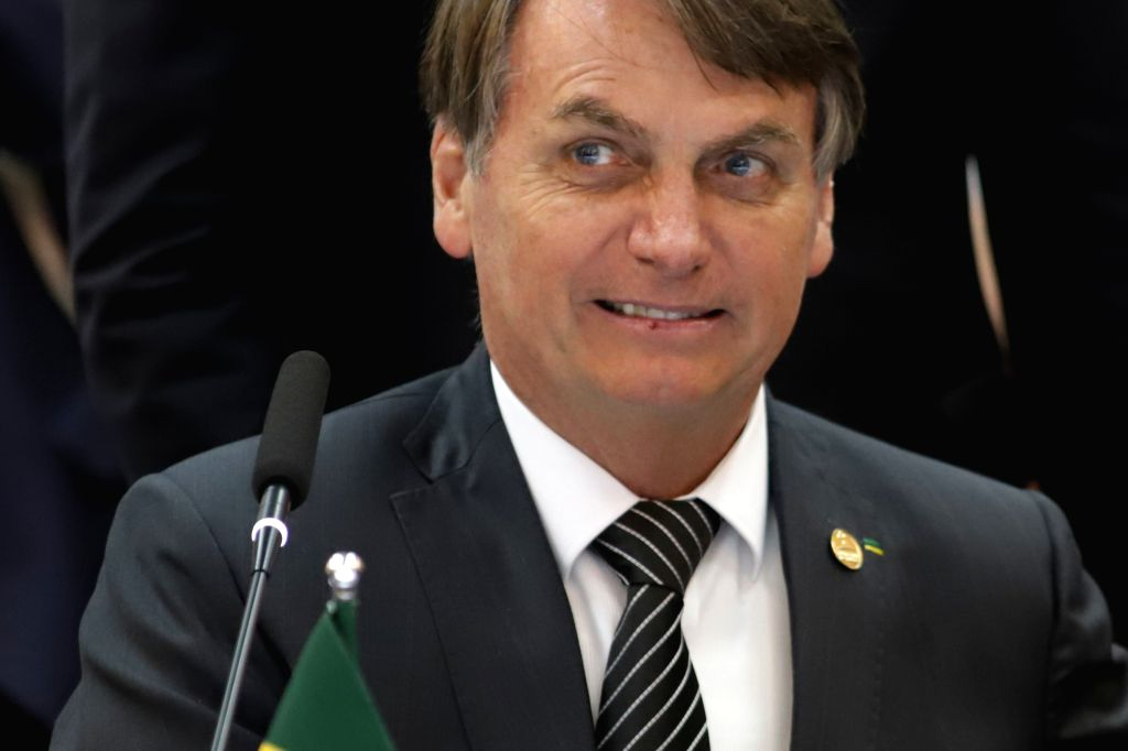 BENTO GONCALVES, Dec. 6, 2019 - Brazilian President Jair Messias Bolsonaro attends the 55th summit of the South American trade bloc Mercosur (Southern Common Market) in Bento Goncalves, Brazil, Dec. ...