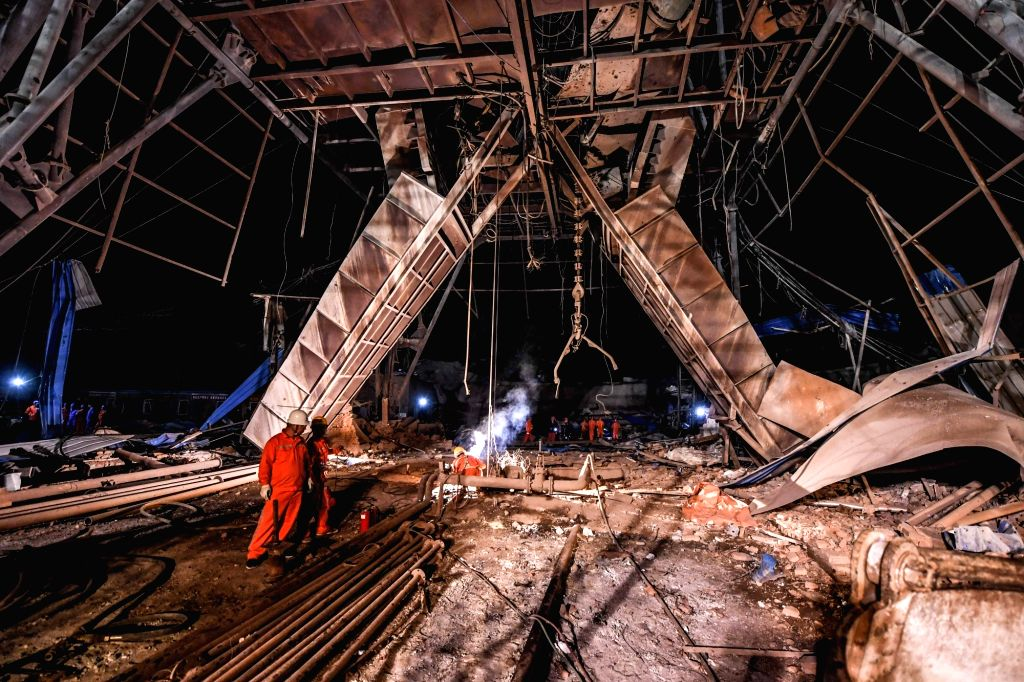 BENXI, June 5, 2018 - Rescuers work at the site of the iron mine blast in Benxi City of northeast China's Liaoning Province, June 5, 2018. Eleven people were killed and nine injured in an iron mine ...