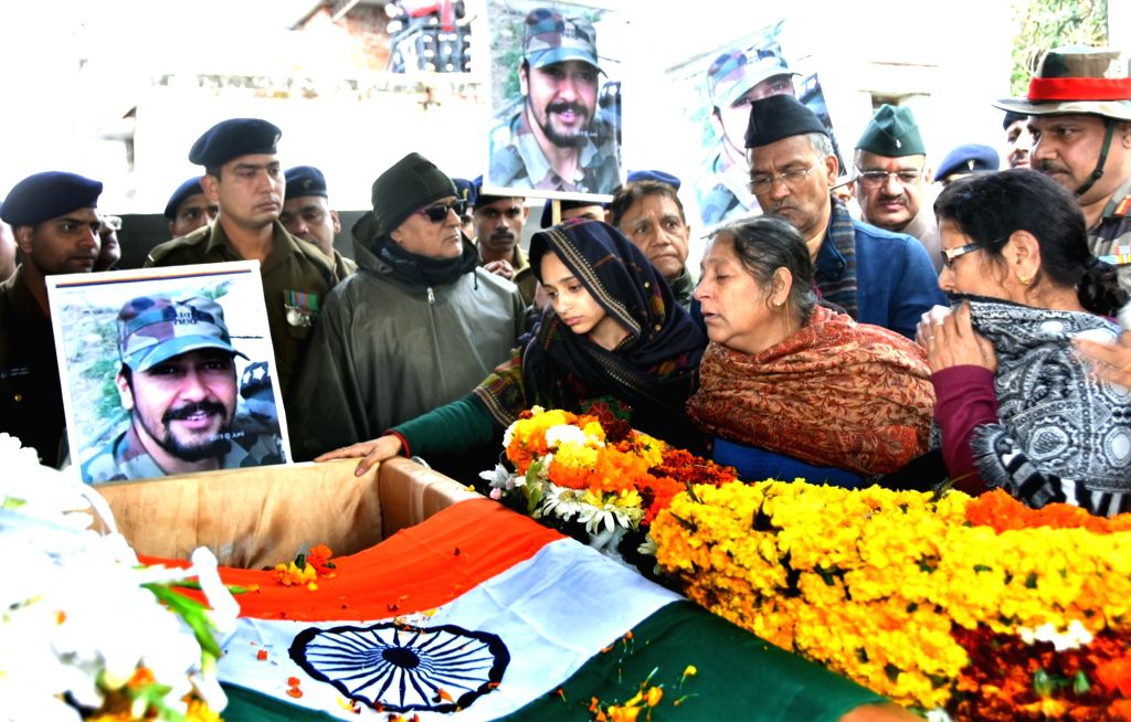 Bereaved family members of martyr Major Vibhuti Shankar Dhoundiyal, who lost his life in the 13-hour-long encounter with the JeM militants, who were hiding in a house in Jammu and Kashmir's ...