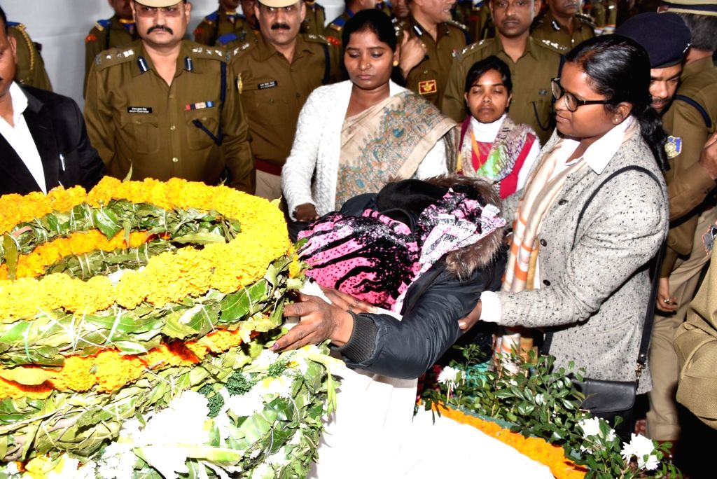 Bereaved Karmela Soreng, wife of martyr Vijay Soreng, one of the 49 CRPF personnel killed in 14 Feb Pulwama militant attacks in Ranchi on Feb 16, 2019.
