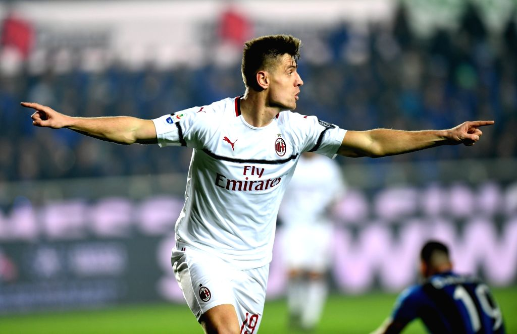 BERGAMO, Feb. 17, 2019 - AC Milan's Krzysztof Piatek celebrates during a Serie A soccer match between Atalanta and AC Milan in Bergamo, Italy, Feb. 16, 2019. AC Milan won 3-1.