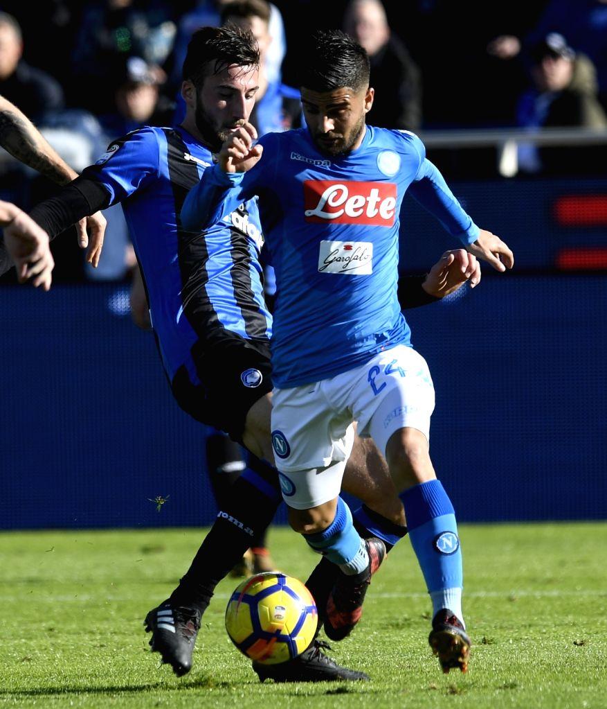 BERGAMO, JAN. 22, 2018 - Atalanta's Bryan Cristante (L) competes with Napoli's Lorenzo Insigne during a Serie A soccer match between Atalanta and Napoli in Bergamo, Italy, Jan. 21, 2018. Napoli won ...