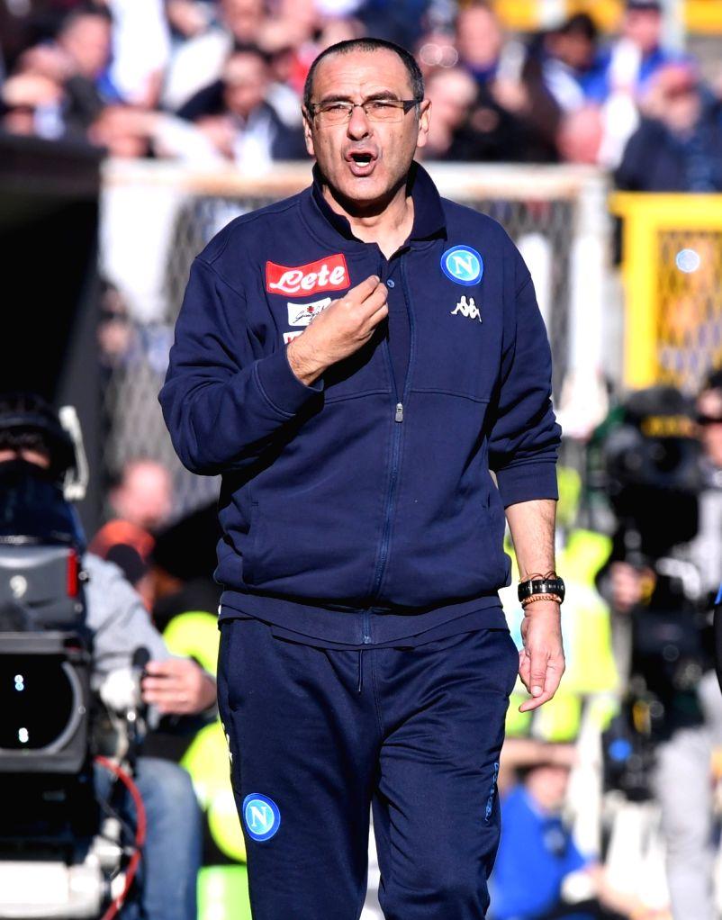 BERGAMO, JAN. 22, 2018 - Napoli's head coach Maurizio Sarri gestures during a Serie A soccer match between Atalanta and Napoli in Bergamo, Italy, Jan. 21, 2018. Napoli won 1-0.
