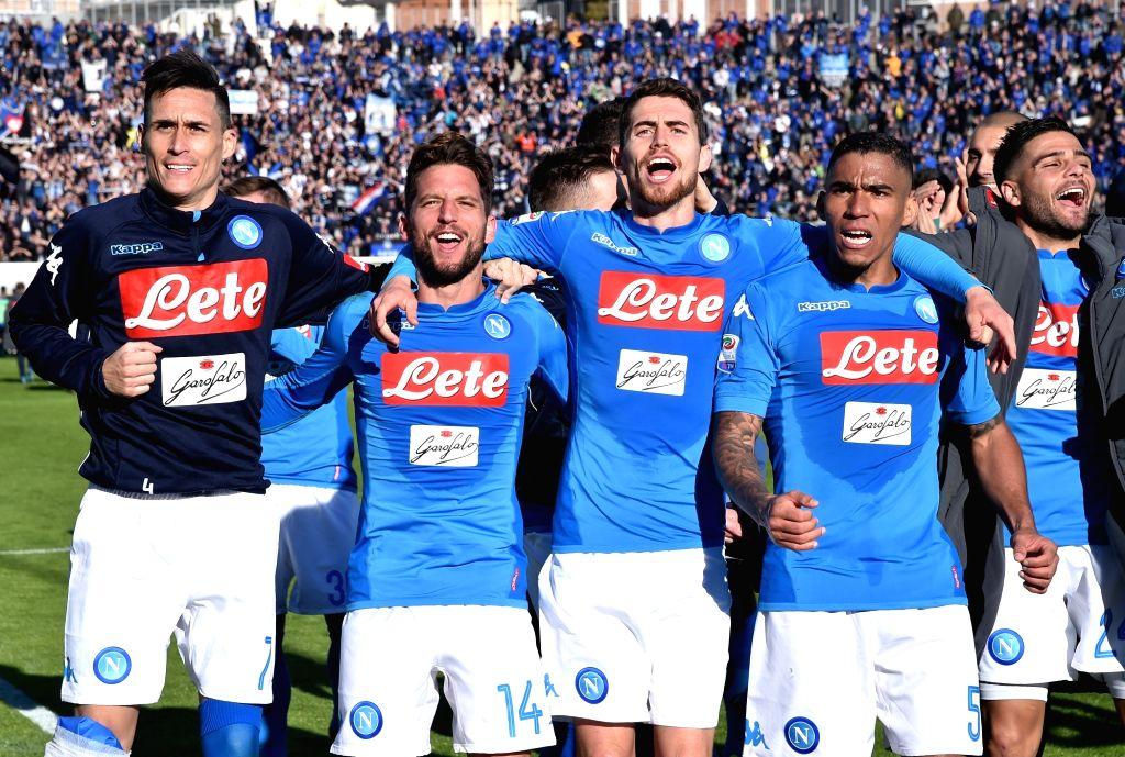 BERGAMO, JAN. 22, 2018 - Napoli's players celebrate after a Serie A soccer match between Atalanta and Napoli in Bergamo, Italy, Jan. 21, 2018. Napoli won 1-0.