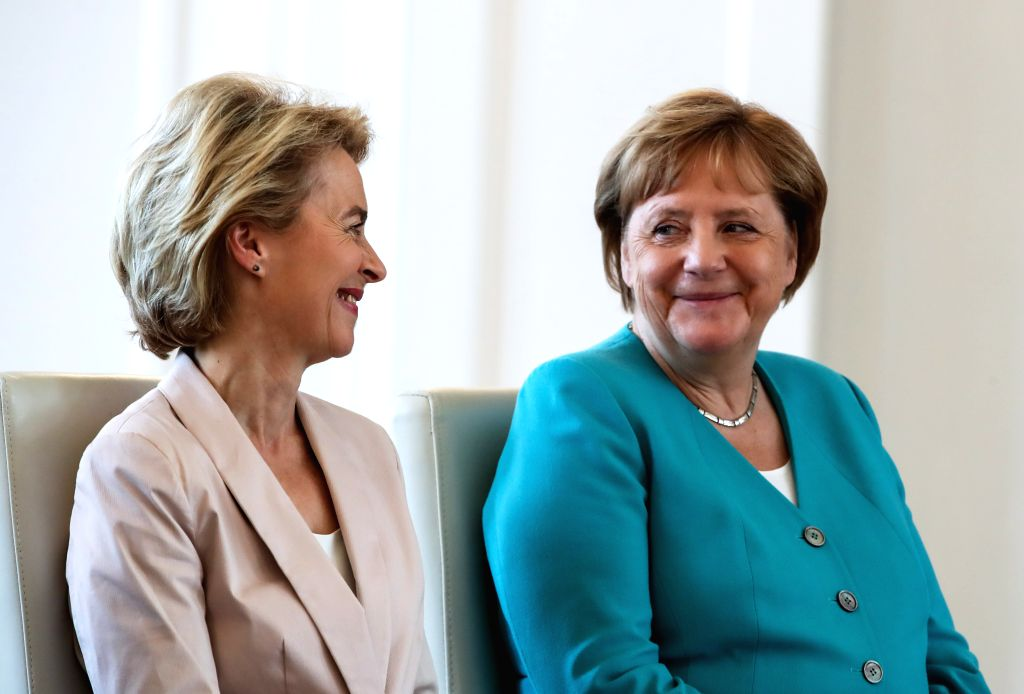 BERLIIN, July 17, 2019 - German Chancellor Angela Merkel (R) and outgoing German Defense Minister Ursula von der Leyen attend a ceremony for the appointment of German Defense Minister at the Bellevue ... - Ursula