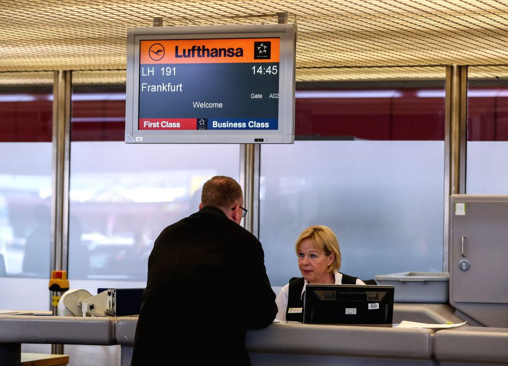BERLIN, April 10, 2018 - A passenger checks in at a counter of Lufthansa at Tegel International Airport in Berlin, capital of Germany, on April 10, 2018. German airline giant Lufthansa cancelled more ...