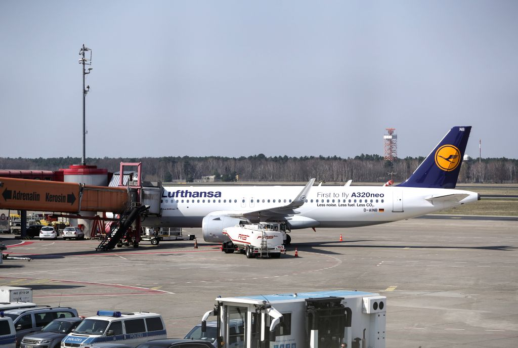 BERLIN, April 10, 2018 - A plane of Lufthansa is seen at Tegel International Airport in Berlin, capital of Germany, on April 10, 2018. German airline giant Lufthansa cancelled more than 800 out of ...