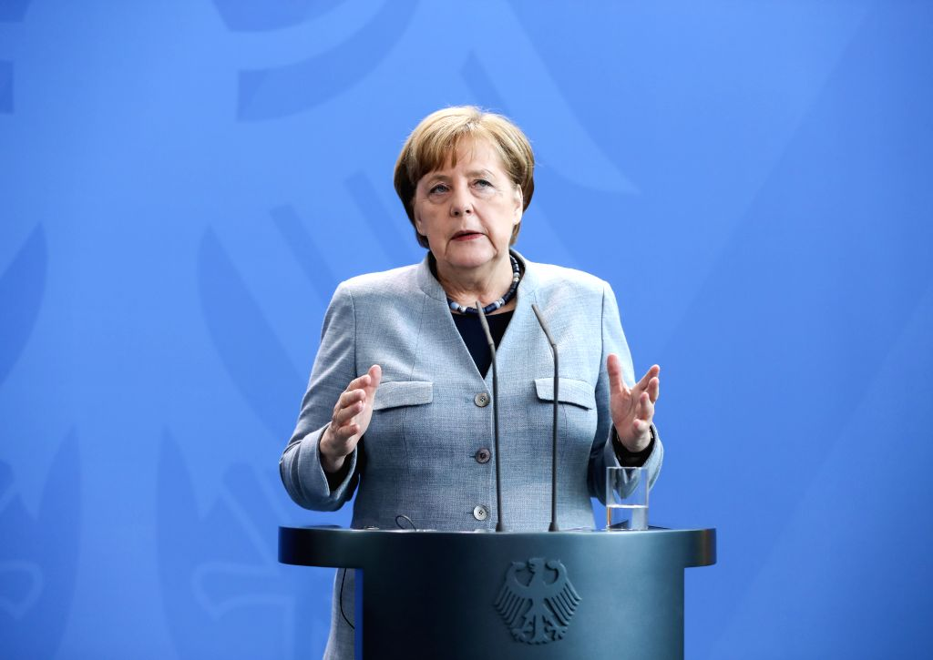 BERLIN, April 10, 2018 - German Chancellor Angela Merkel attends a joint press conference with visiting Ukrainian President Petro Poroshenko at German Chancellery in Berlin, capital of Germany, on ...