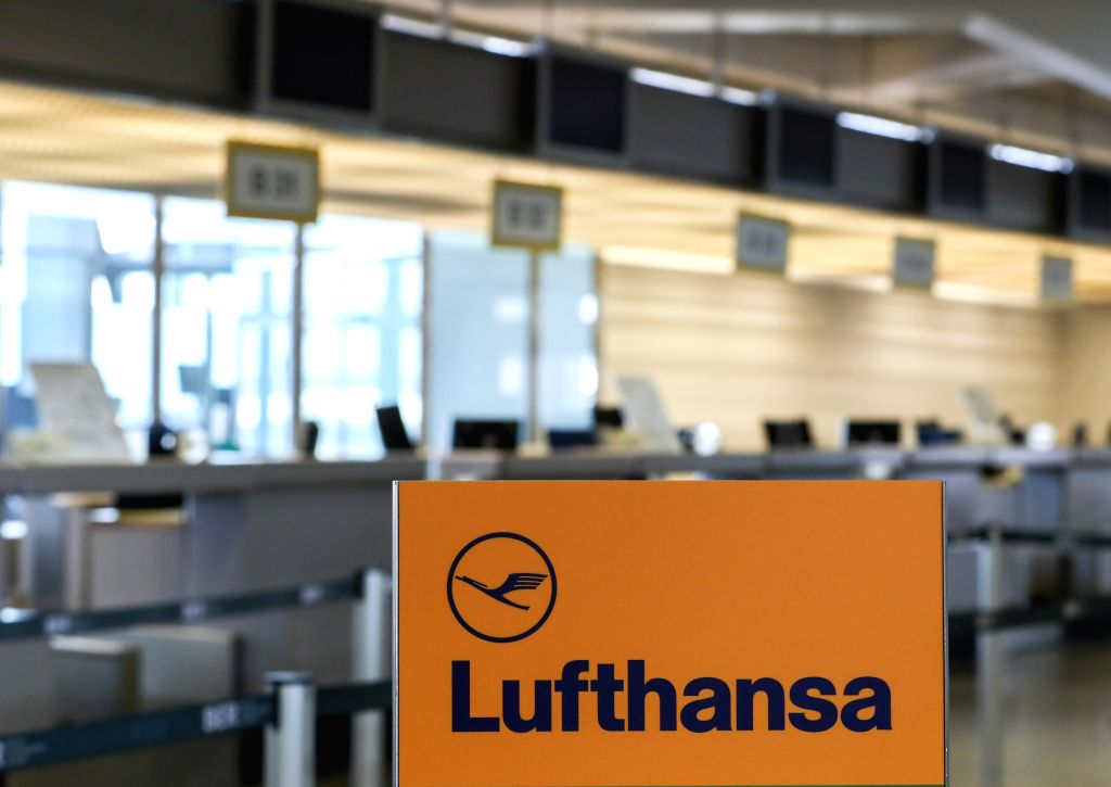 BERLIN, April 10, 2018 - Photo taken on April 10, 2018 shows counters of Lufthansa at Tegel International Airport in Berlin, capital of Germany. German airline giant Lufthansa cancelled more than 800 ...