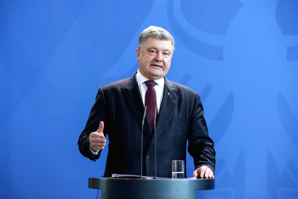 BERLIN, April 10, 2018 - Visiting Ukrainian President Petro Poroshenko attends a joint press conference with German Chancellor Angela Merkel at German Chancellery in Berlin, capital of Germany, on ...