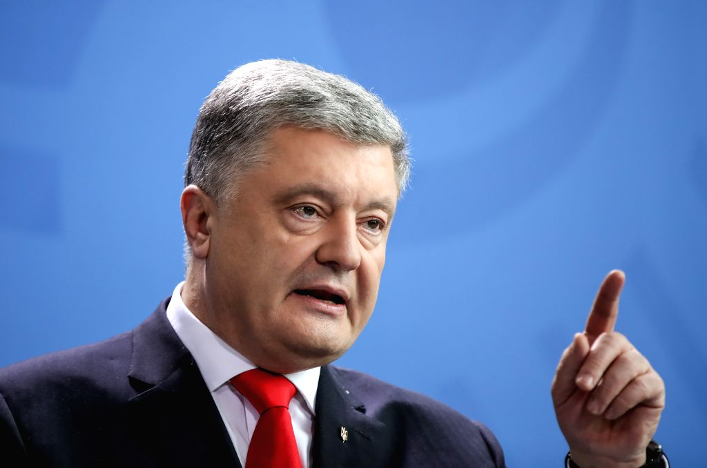 BERLIN, April 12, 2019 - Visiting Ukrainian President Petro Poroshenko attends a joint press conference with German Chancellor Angela Merkel (not in the picture) at the German Chancellery in Berlin, ...