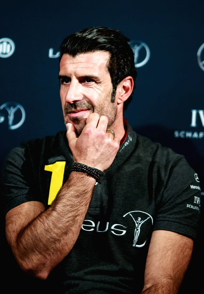 BERLIN, April 18, 2016 - Former Portuguese football player Luis Figo attends a press conference prior to the 17th Laureus World Sports Award ceremony in Berlin, Germany, April 18, 2016.
