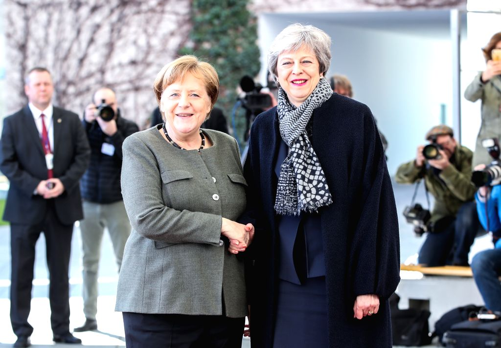 BERLIN, April 9, 2019 (Xinhua) -- German Chancellor Angela Merkel (L) shakes hands with British Prime Minister Theresa May at the German Chancellery in Berlin, capital of Germany, on April 9, 2019. British Prime Minister Theresa May visited Berlin on - Theresa May