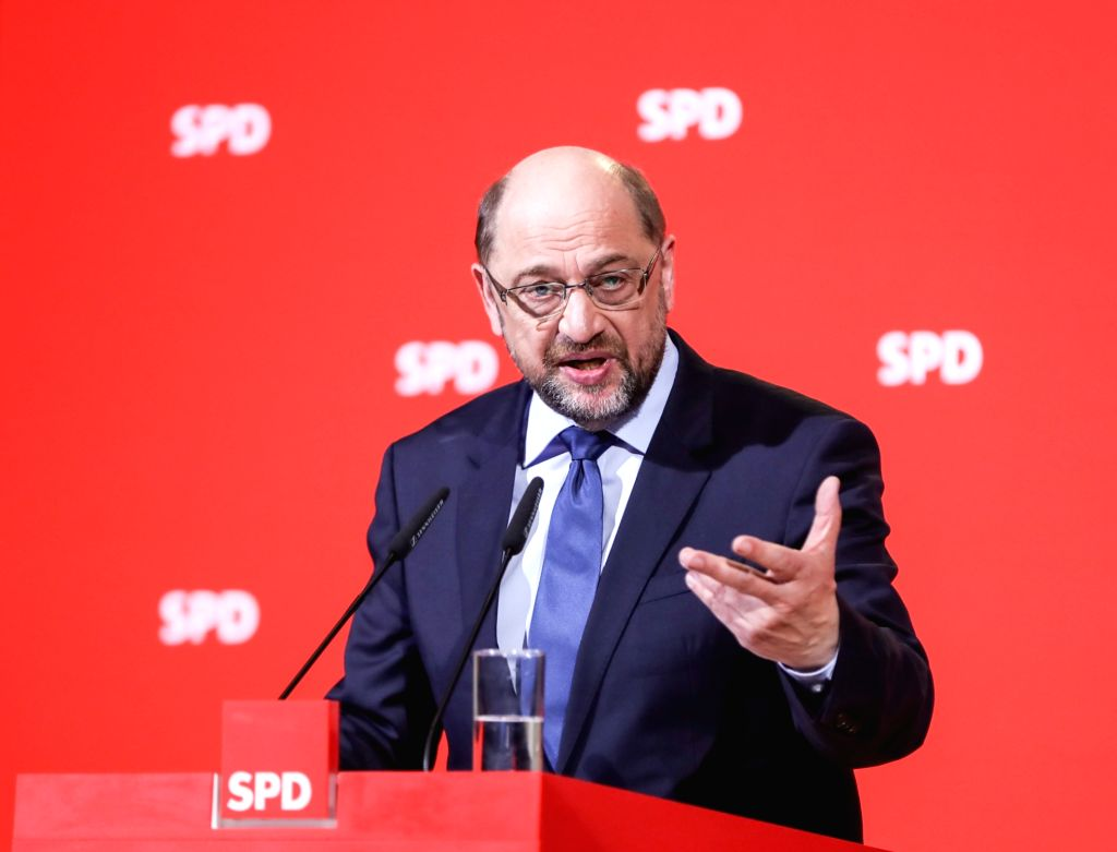 BERLIN, Feb. 13, 2018 - File photo taken on Dec. 15, 2017 shows German Social Democrat leader Martin Schulz speaking during a press conference at the SPD headquarters in Berlin, capital of Germany. ...