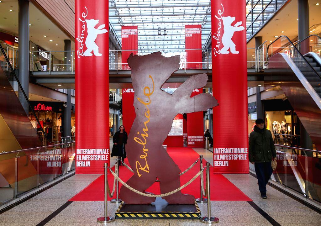 BERLIN, Feb. 14, 2018 - Photo taken on Feb. 14, 2018 shows a Berlinale Bear of the Berlin International Film Festival in a shopping mall in Berlin, capital of Germany. The 68th Berlin International ...