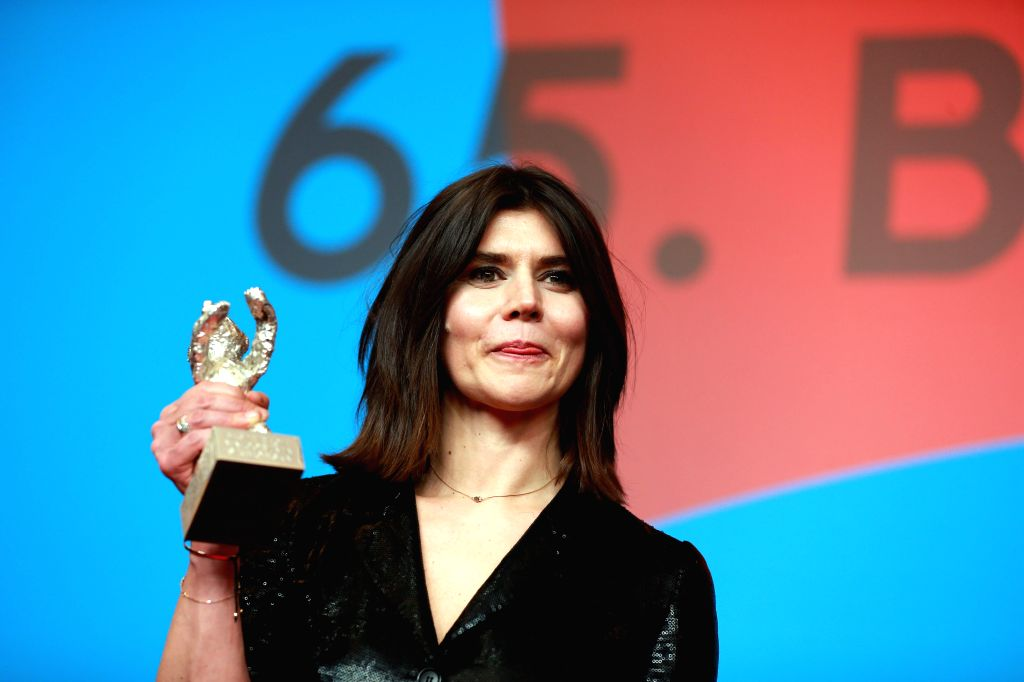"""Director Malgorzata Szumowska holds her Silver Bear for the Best Director for the film """"Body"""" during a news conference after the awarding ceremony of the .."""