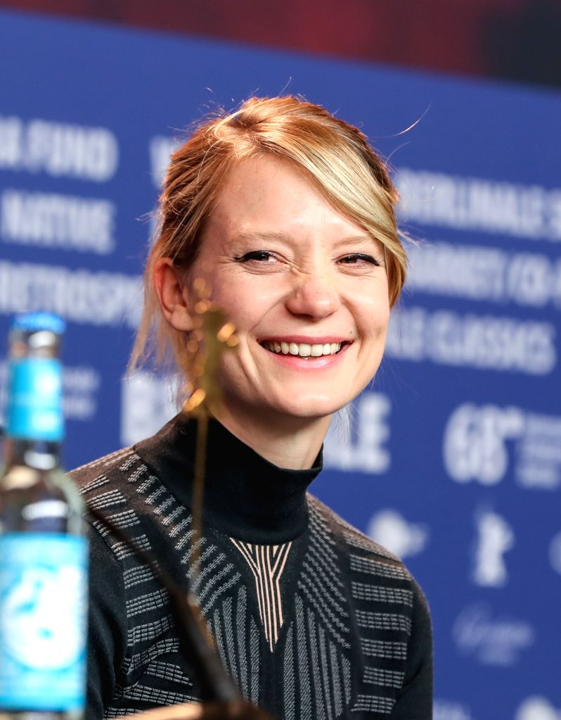 "BERLIN, Feb. 16, 2018 - Actress Mia Wasikowska attends a press conference of film ""Damsel"" during the 68th Berlin International Film Festival, in Berlin, capital of Germany, Feb. 16, 2018. - Mia Wasikowska"
