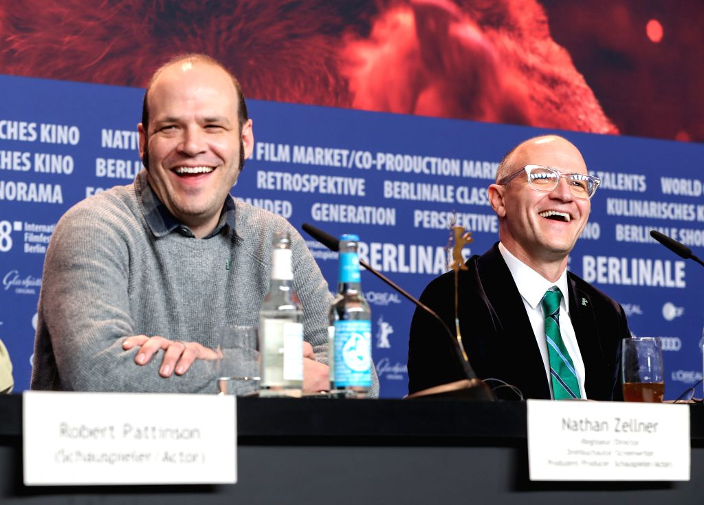 "BERLIN, Feb. 16, 2018 - Directors David Zellner (R) and Nathan Zellner attend a press conference of film ""Damsel"" during the 68th Berlin International Film Festival, in Berlin, capital of ..."