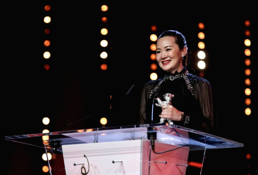 BERLIN, Feb. 17, 2019 - Chinese actress Yong Mei delivers a speech after receiving the Silver Bear for Best Actress during the award ceremony of the 69th Berlin International Film Festival in Berlin, ... - Yong Mei