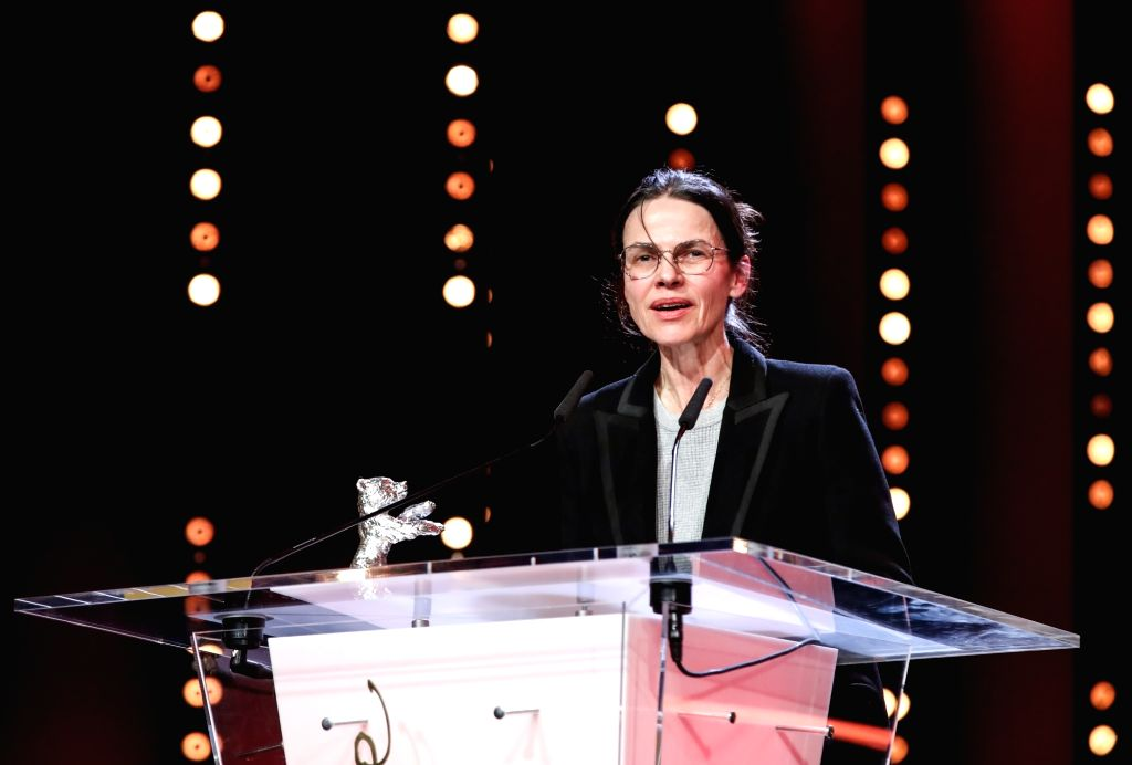 """BERLIN, Feb. 17, 2019 - Director Angela Schanelec receives the Silver Bear for Best Director award for """"I Was at Home, But"""" during the awards ceremony of the 69th Berlin International Film ..."""