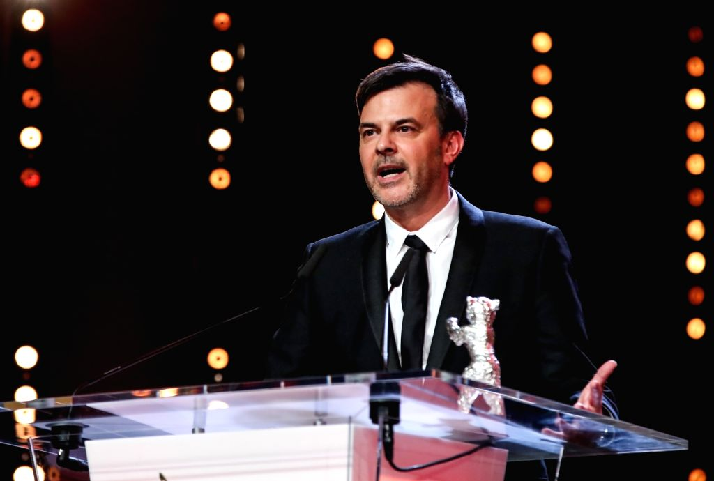 """BERLIN, Feb. 17, 2019 - Director Francois Ozon receives the Silver Bear Grand Jury Prize for """"By the Grace of God"""" during the awards ceremony of the 69th Berlin International Film Festival ..."""