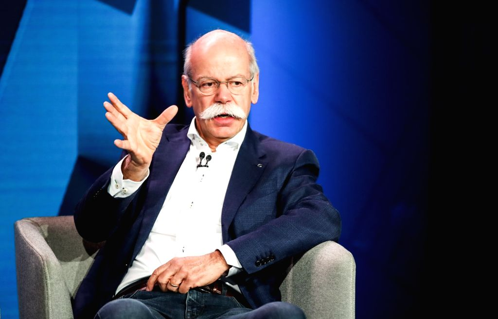BERLIN, Feb. 22, 2019 - Dieter Zetsche, chairman of the board of management of Daimler, attends a press conference in Berlin, capital of Germany, on Feb. 22, 2019. Daimler and BMW, two German luxury ...