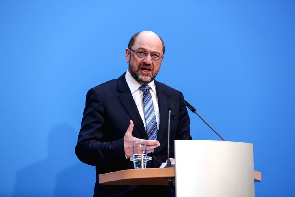 BERLIN, Feb. 7, 2018 - er of German Social Democratic Party (SPD) Martin Schulz speaks during a joint press conference at the headquaters of CDU in Berlin, capital of Germany, on Feb. 7, 2018. ...