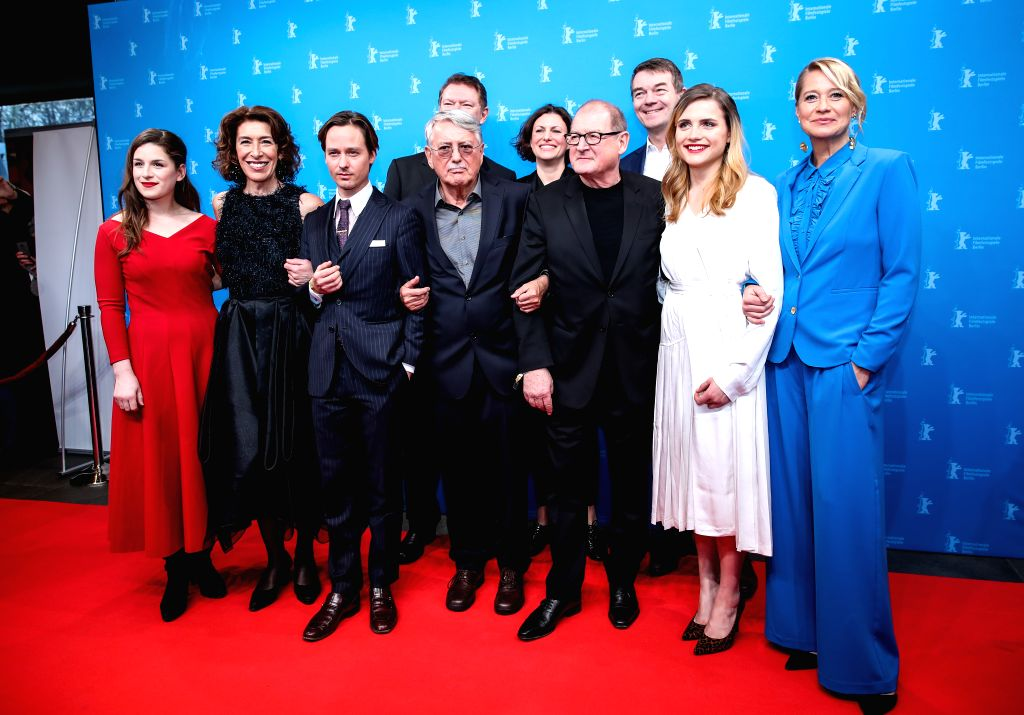 """BERLIN, Feb. 9, 2019 - Cast members of film """"Brecht"""" pose for photos at a photocall prior to the premiere during the 69th Berlin International Film Festival in Berlin, capital of Germany, ..."""