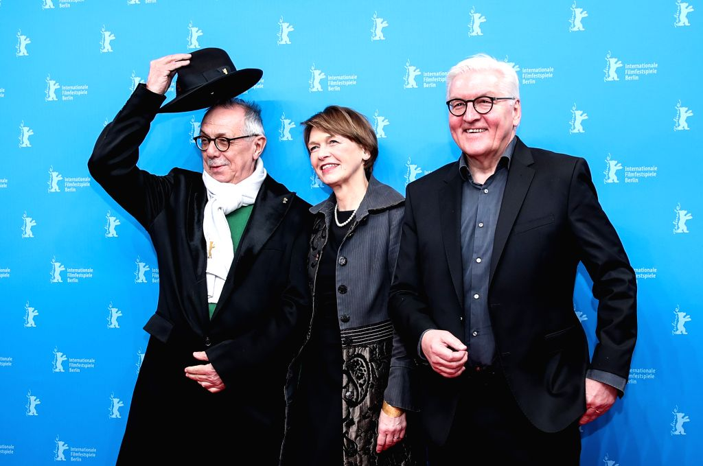 BERLIN, Feb. 9, 2019 - German President Frank-Walter Steinmeier (R) and his wife Elke Buedenbender (C) pose for photos with Berlinale director Dieter Kosslick at a photocall prior to the premiere of ... - Dieter Kosslick