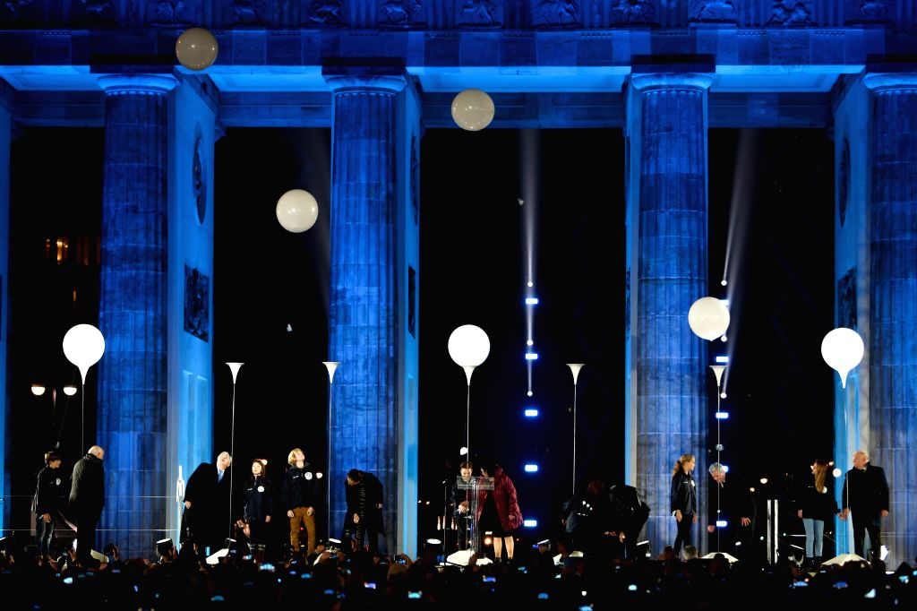 Berlin (Germany): A celebration is held to mark the 25th anniversary of the fall of the Berlin Wall in front of the Brandenburg Gate in Berlin, Germany, Nov. 9, 2014.