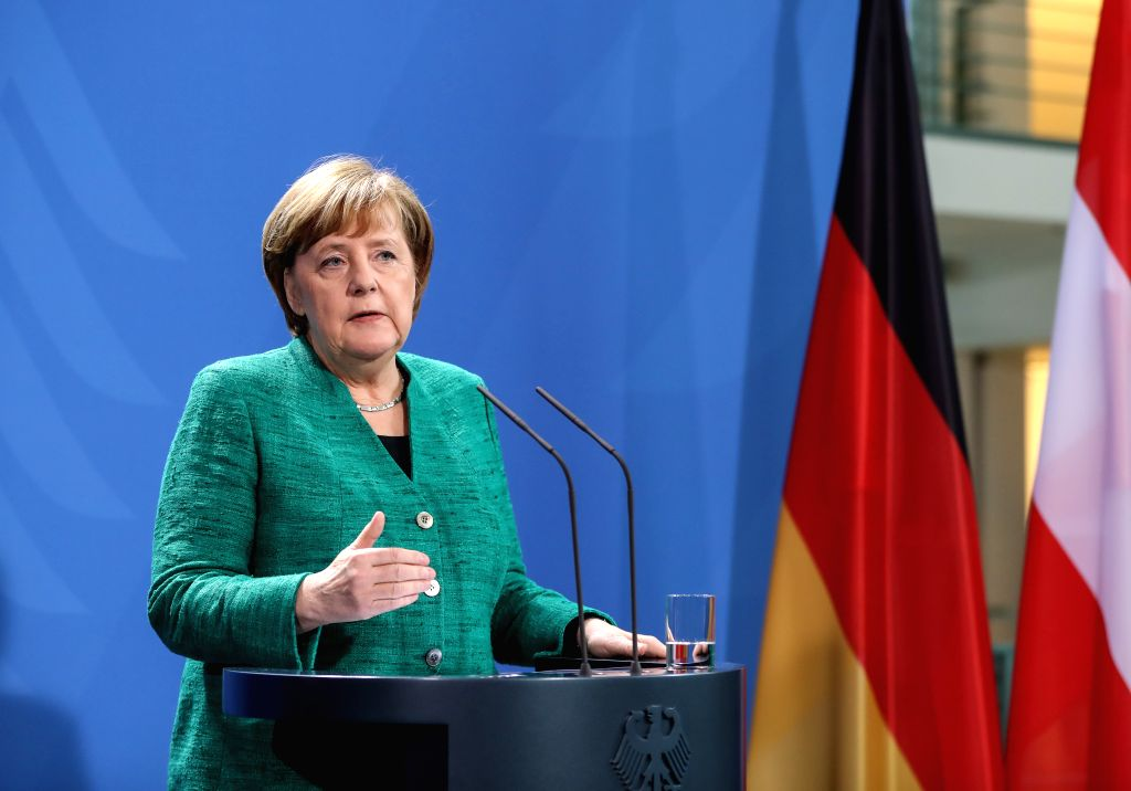 BERLIN, Jan. 17, 2018 - German Chancellor Angela Merkel speaks during a joint press conference with Austria's Chancellor Sebastian Kurz in Berlin, capital of Germany, on Jan. 17, 2018.