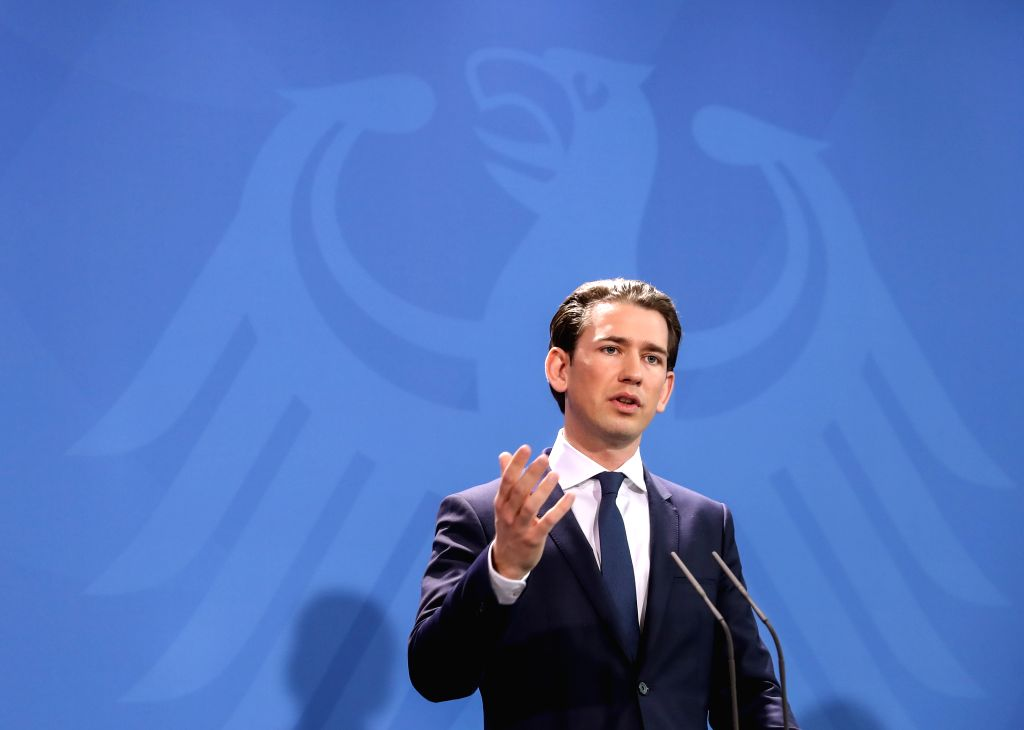 BERLIN, Jan. 17, 2018 - Visiting Austrian Chancellor Sebastian Kurz speaks during a joint press conference with German Chancellor Angela Merkel in Berlin, capital of Germany, on Jan. 17, 2018.