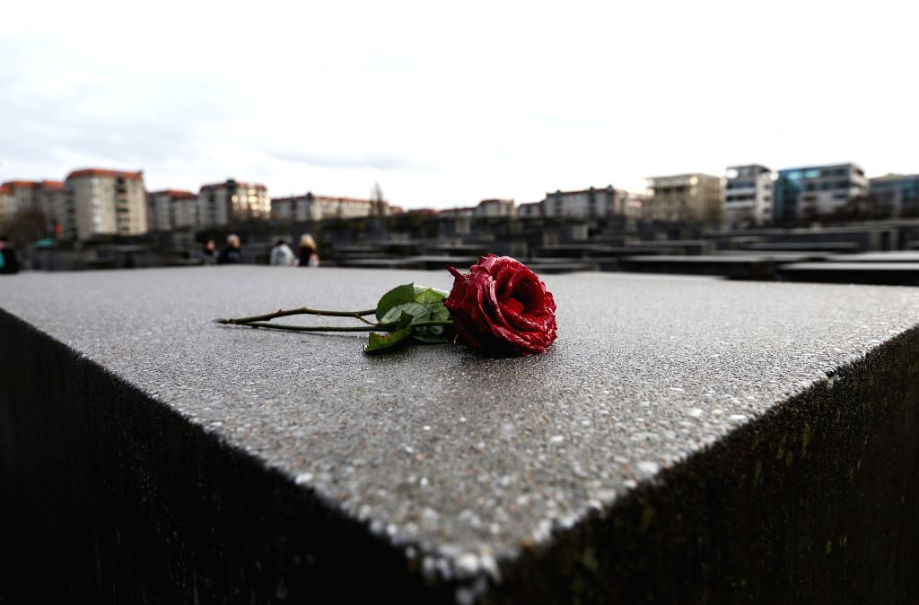BERLIN, Jan. 27, 2019 - A rose is seen at the Memorial to the Murdered Jews of Europe in Berlin, capital of Germany, on Jan. 27, 2019. The memorial, located in the center of Berlin, was built to ...