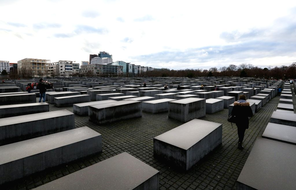 BERLIN, Jan. 27, 2019 - Photo taken on Jan. 27, 2019 shows a view of the Memorial to the Murdered Jews of Europe in Berlin, capital of Germany. The memorial, located in the center of Berlin, was ...