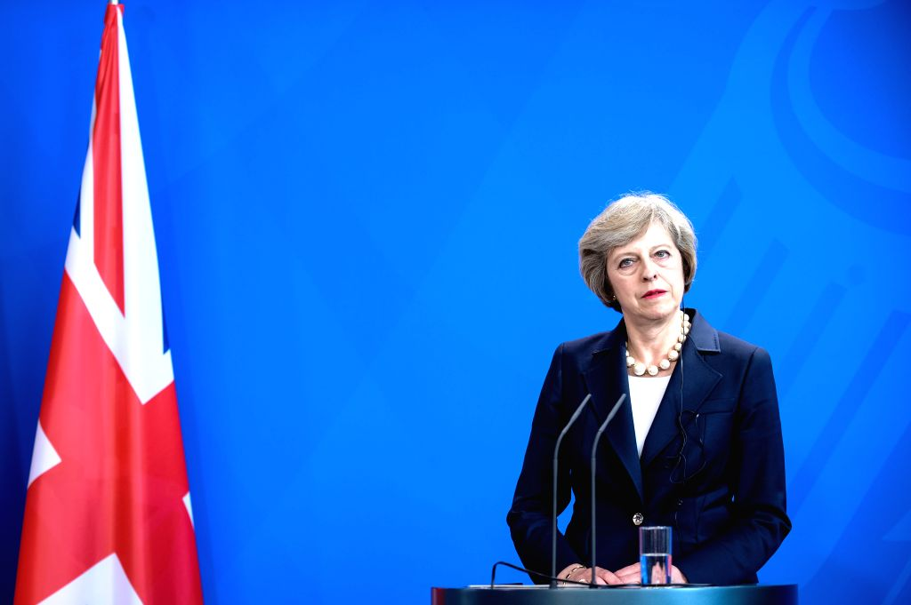 BERLIN, July 20, 2016 - British Prime Minister Theresa May attends a press conference after meeting with German Chancellor Angela Merkel(not in the picture) at the Chancellery in Berlin, Germany, on ... - Theresa May