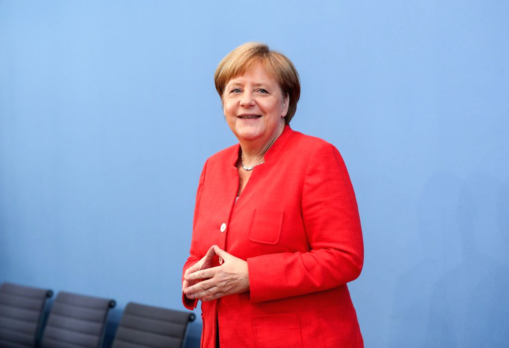 BERLIN, July 20, 2018 - German Chancellor Angela Merkel attends the regular press conference in Berlin, Germany, July 20, 2018. German Chancellor Angela Merkel said Friday that the trans-Atlantic ...