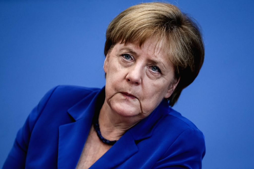 """BERLIN, July 28, 2016 - German Chancellor Angela Merkel attends a press conference in Berlin, Germany, on July 28. 2016. German Chancellor Angela Merkel repeated her immigration mantra """"We can ..."""