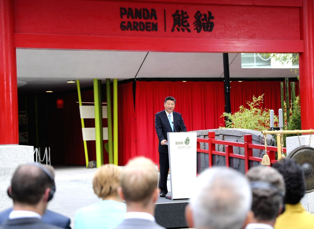 BERLIN, July 5, 2017 - Chinese President Xi Jinping delivers a speech at the opening ceremony of the Panda Garden at the Berlin Zoo in Berlin, capital of Germany, July 5, 2017. Xi and German ...