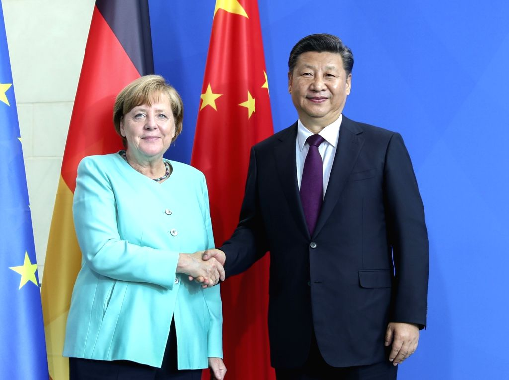 BERLIN, July 5, 2017 - Chinese President Xi Jinping (R) holds talks with German Chancellor Angela Merkel in Berlin, capital of Germany, July 5, 2017.