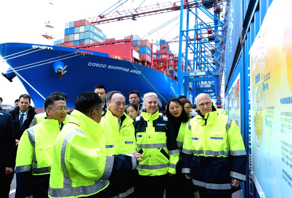 BERLIN, June 2, 2019 - Chinese Vice President Wang Qishan visits the port of Hamburg on May, 30, 2019. Wang Qishan paid a visit to Germany from Thursday to Sunday at the invitation of the German ...