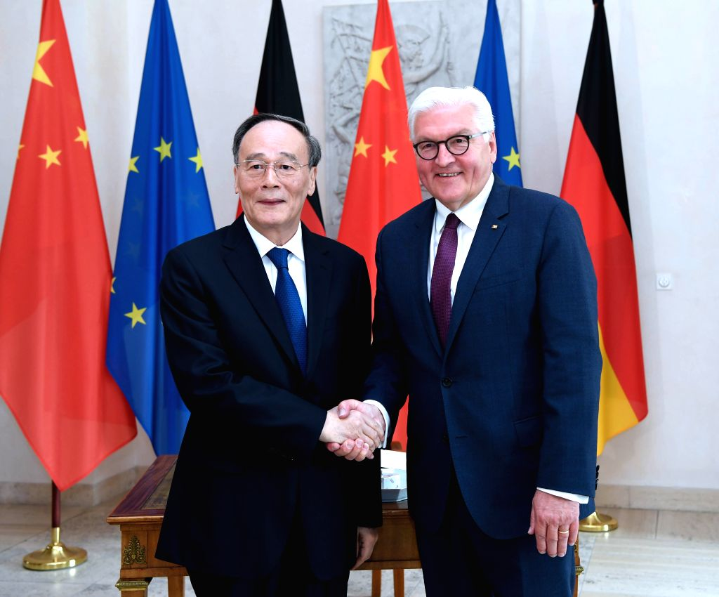 BERLIN, June 2, 2019 - Chinese Vice President Wang Qishan meets with German President Frank-Walter Steinmeier in Berlin, Germany, May, 31, 2019. Wang Qishan paid a visit to Germany from Thursday to ...