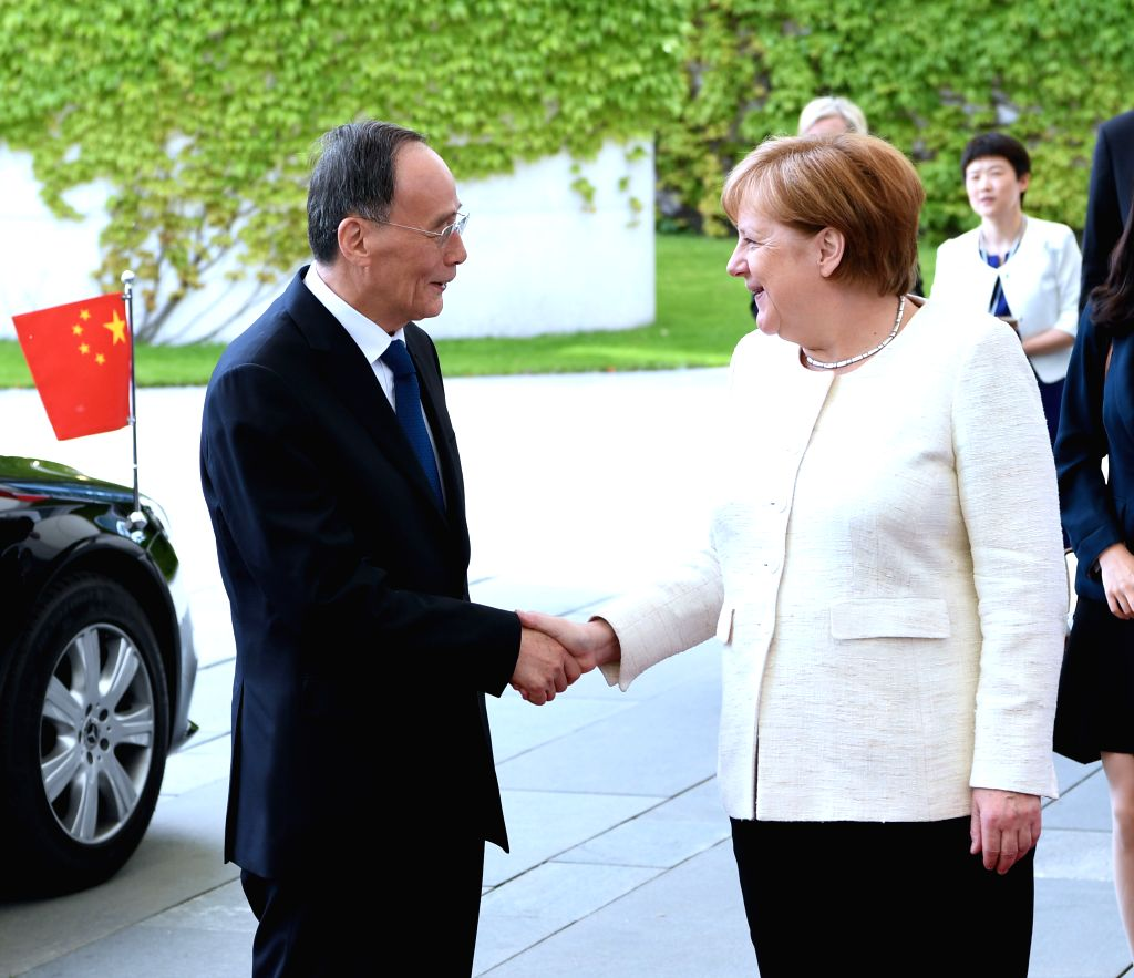 BERLIN, June 2, 2019 - Chinese Vice President Wang Qishan meets with German Chancellor Angela Merkel in Berlin, Germany, May, 31, 2019. Wang Qishan paid a visit to Germany from Thursday to Sunday at ...