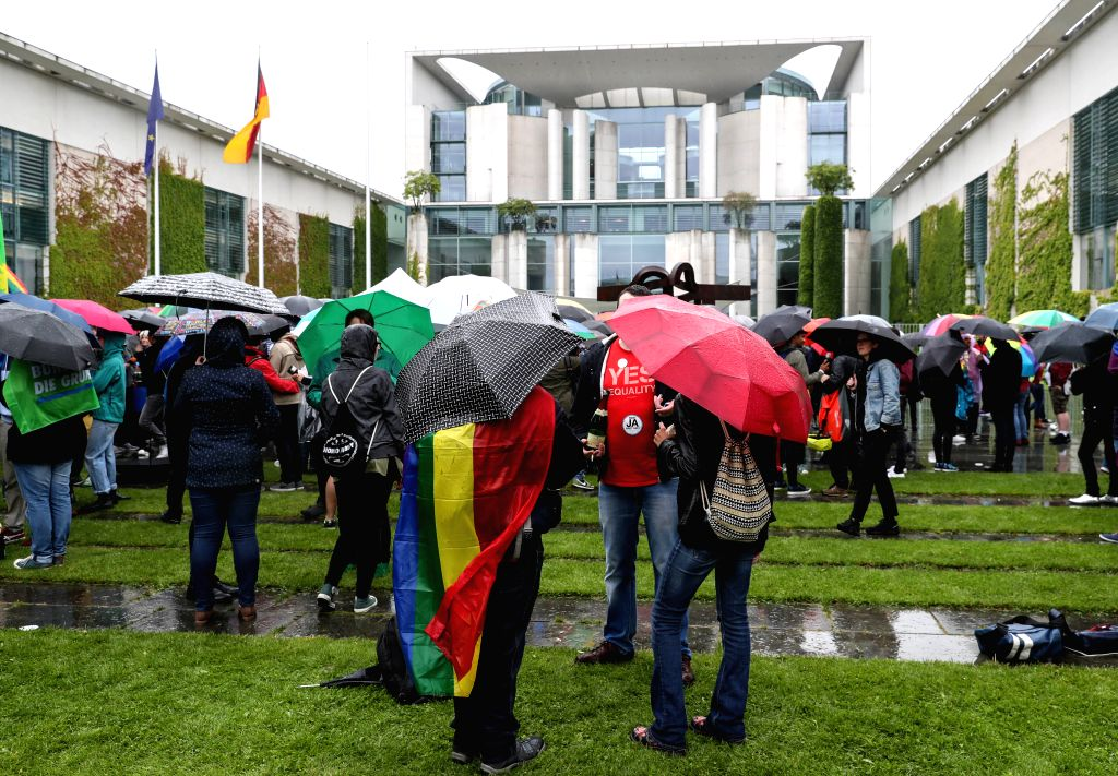"BERLIN, June 30, 2017 - Photo taken on June 30, 2017 shows a view of the rally ""Marriage for All"" in front of the German Chancellery in Berlin, capital of Germany. Germany's federal ..."