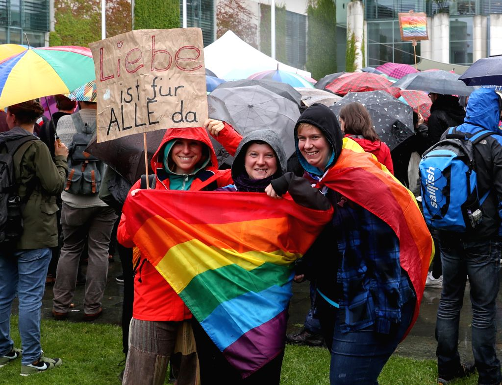 "BERLIN, June 30, 2017 - Supporters of same-sex marriage take part in the ""Marriage for All"" rally in front of the German Chancellery in Berlin, capital of Germany, on June 30, 2017. ..."