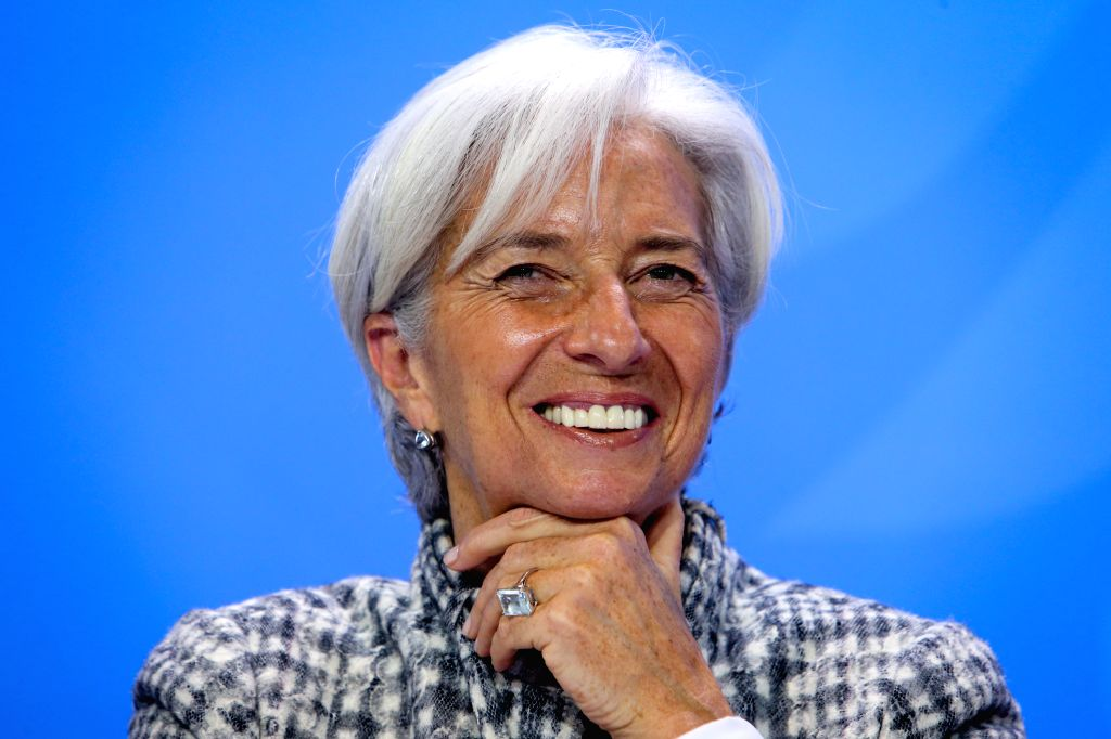 The International Monetary Fund (IMF) Managing Director Christine Lagarde attends a joint press conference after a meeting at the Chancellery in Berlin, Germany, on ...