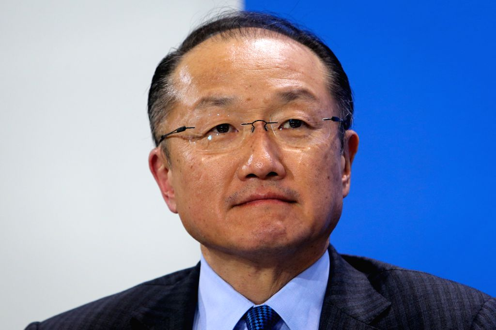 World Bank Group President Jim Yong Kim attends a joint press conference after a meeting at the Chancellery in Berlin, Germany, on March 11, 2015. (Xinhua/Zhang ...