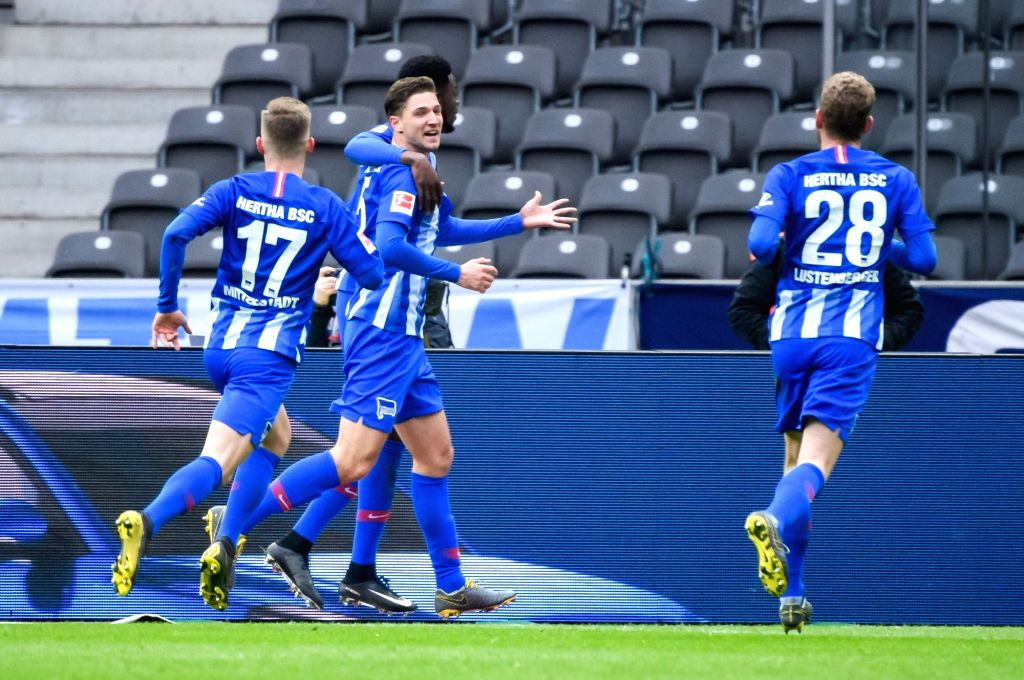 BERLIN, March 3, 2019 - Hertha's Niklas Stark (2nd L) celebrates his scoring during a German Bundesliga match between Hertha BSC and 1.FSV Mainz 05, in Berlin, capital of Germany, on March 2, 2019. ...