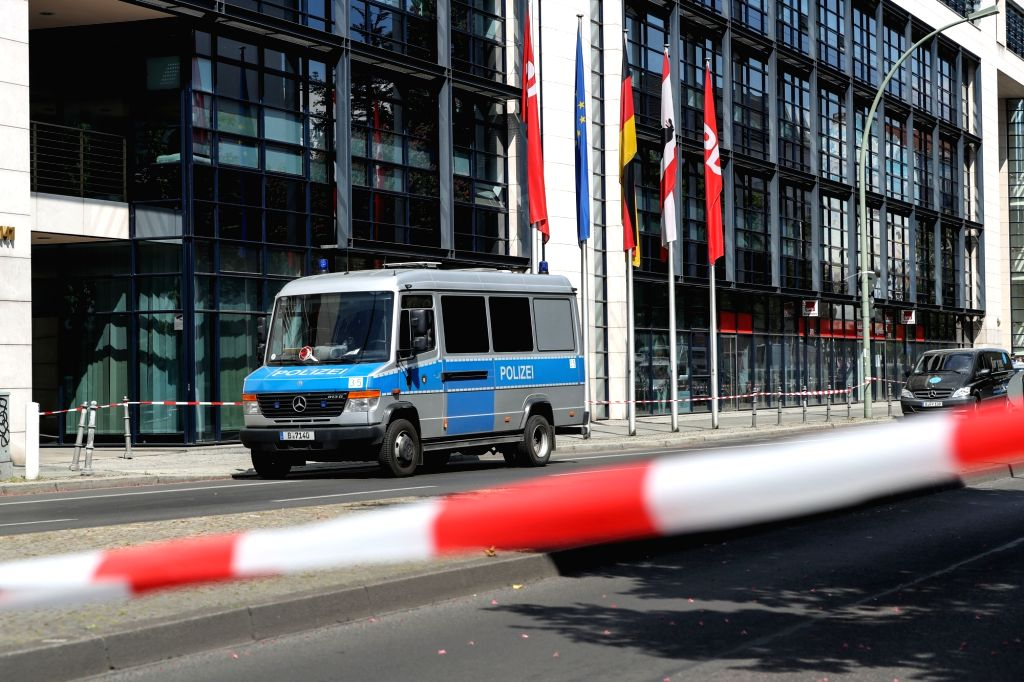 BERLIN, May 22, 2017 - A road near the headquaters of Germany's Social Democratic Party is blocked by police in Berlin, capital of Germany, on May 22, 2017. The headquarters of the Social Democratic ...